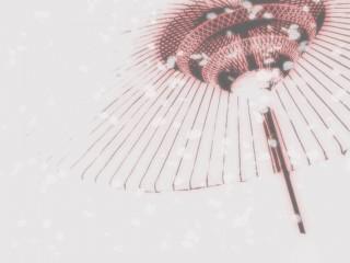 和傘と舞い散る花びら(2パターン)