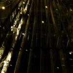 近未来的な建物と飛び交う光の壁紙(4パターン)
