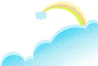 クレヨン画風の雲と虹