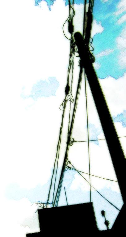 水彩画風の空と電柱
