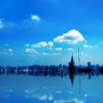 水没した都市と晴れた空(4パターン)
