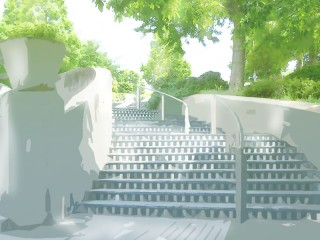 階段のある広場 差分:日中/夕方/夜