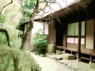 茅葺きの家の庭 差分:日中/夕方/夜