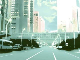 高層ビルに向かう道路 差分:日中/夕方/夜