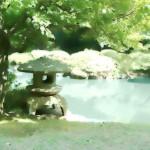 池のある日本庭園 差分:日中/夕方/夜