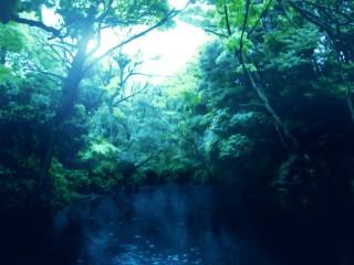 光が射す湖 差分:日中/夕方/夜