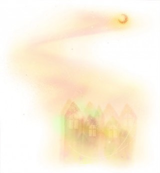 水彩画風の家と月(4パターン)