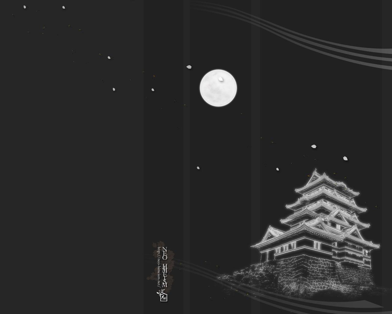 城と満月のデスクトップ壁紙 Neo Himeism