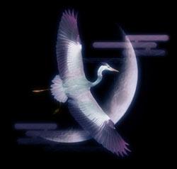 三日月と青鷺(アオサギ)(4パターン)