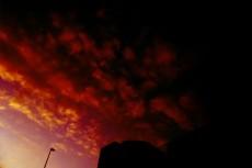 人工物と夕焼けの写真素材