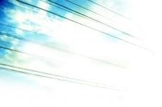 空と電線の写真素材