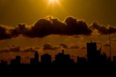 空とビル郡の写真素材