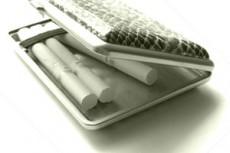 ヘビ革のシガレットケースと煙草