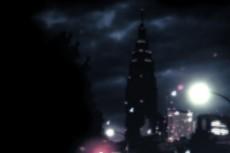 ぼんやりしたビルと夜景