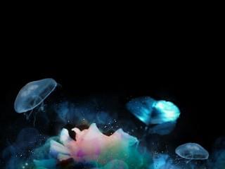 幻想的な雰囲気の水中花と海月(クラゲ)(9パターン)