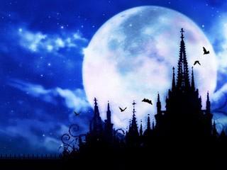 満月をバックにした古城と飛び交う蝙蝠(コウモリ)(6パターン)