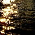 夕陽を反射してキラキラ光る水面