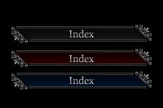 黒背景用のゴシックなメニューボタン(6パターン)