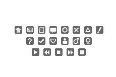 フラットな正方形の角丸アイコン(14パターン)