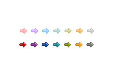 ぷっくりした質感の動く矢印(GIFアニメ)(4パターン)