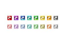 ガラスのような質感のカーブ矢印(4パターン)