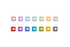 フラットな角丸正方形の中の矢印(透過GIF)(4パターン)