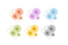 ガーベラとサークルのアイコン(6パターン)