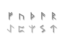 金属のような質感のルーン文字(透過PNG)