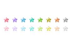 ガラスのような質感の星アイコン(16パターン)