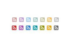 フラットな正方形の角丸RSSアイコン(14パターン)