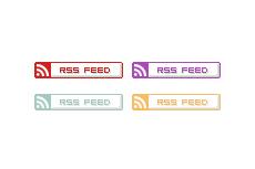丸みがある出っ張ったようなRSSボタン(14パターン)