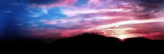 山並みに沈む夕日(3パターン)
