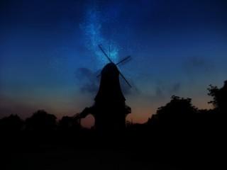 【高解像度】星降る夜の風車小屋(4パターン)