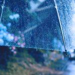 【高解像度】ビニール傘と雨が降る道(3パターン)