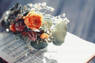 【高解像度】楽譜と薔薇の花束(バラ)(6パターン)